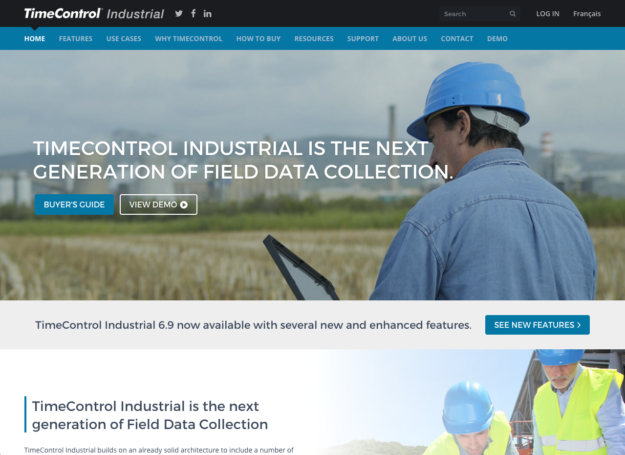 TimeControl Industrial Website Screenshot