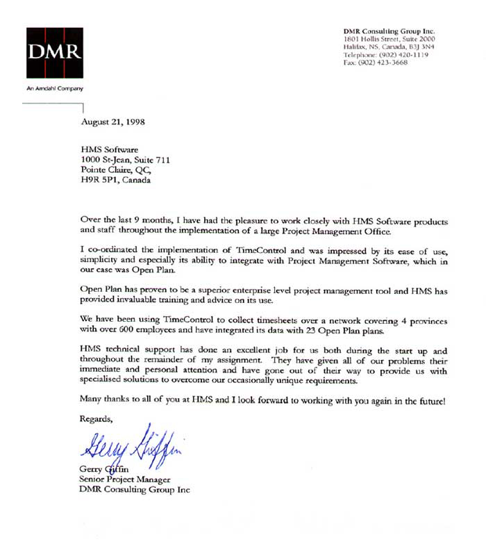 DMR Consulting Group Testimonial
